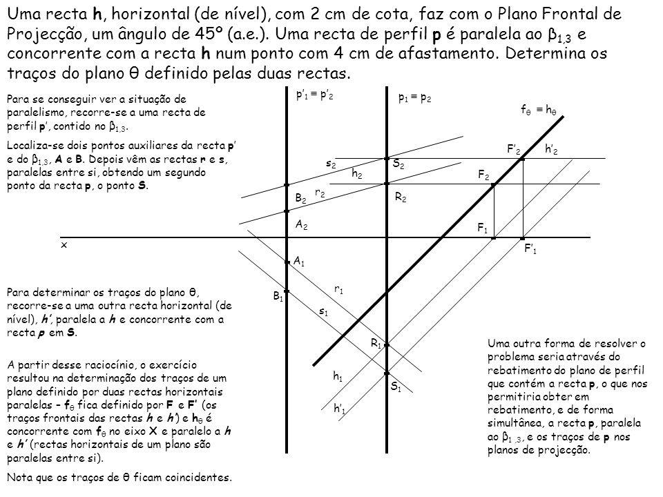 Uma recta h, horizontal (de nível), com 2 cm de cota, faz com o Plano Frontal de Projecção, um ângulo de 45º (a.e.). Uma recta de perfil p é paralela ao β1,3 e concorrente com a recta h num ponto com 4 cm de afastamento. Determina os traços do plano θ definido pelas duas rectas.