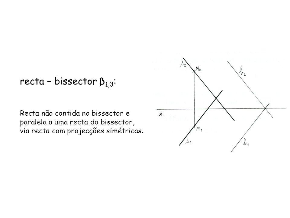 recta – bissector β1,3: Recta não contida no bissector e paralela a uma recta do bissector, via recta com projecções simétricas.