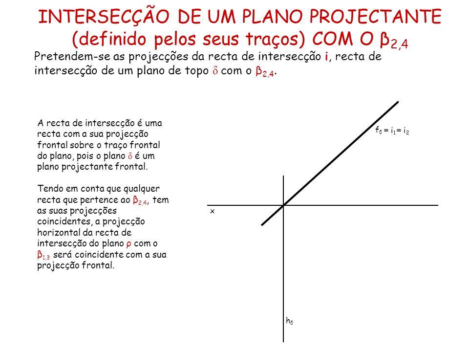INTERSECÇÃO DE UM PLANO PROJECTANTE (definido pelos seus traços) COM O β2,4