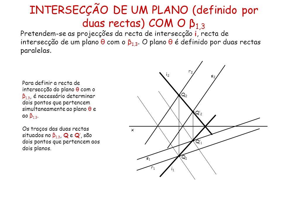INTERSECÇÃO DE UM PLANO (definido por duas rectas) COM O β1,3
