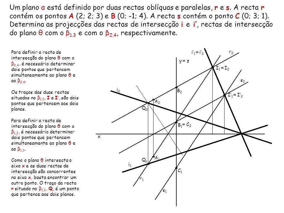 Um plano α está definido por duas rectas oblíquas e paralelas, r e s