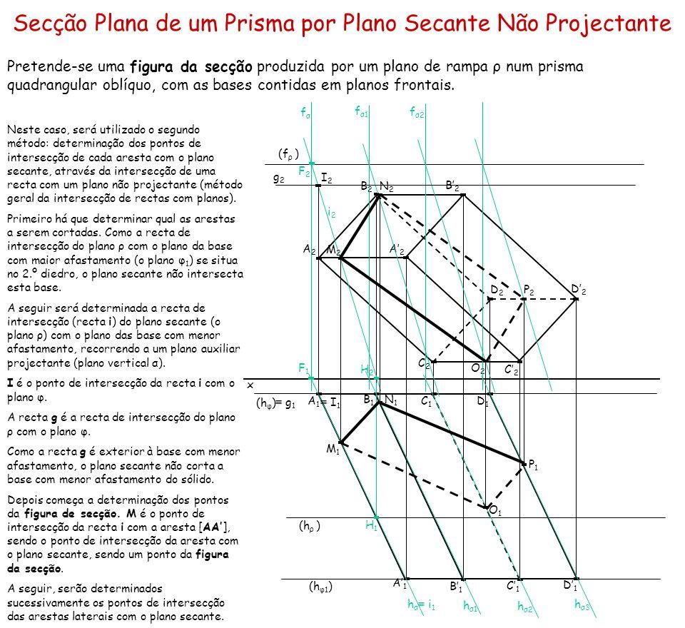 Secção Plana de um Prisma por Plano Secante Não Projectante