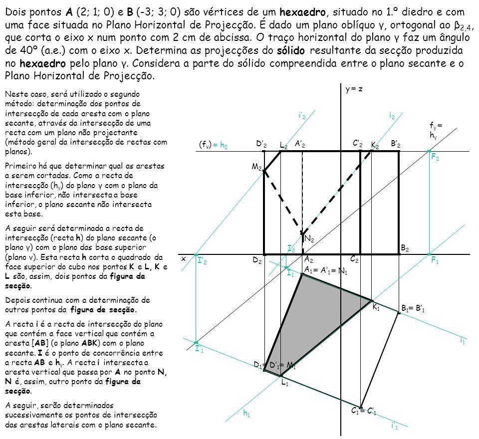 Dois pontos A (2; 1; 0) e B (-3; 3; 0) são vértices de um hexaedro, situado no 1.º diedro e com uma face situada no Plano Horizontal de Projecção. É dado um plano oblíquo γ, ortogonal ao β2,4, que corta o eixo x num ponto com 2 cm de abcissa. O traço horizontal do plano γ faz um ângulo de 40º (a.e.) com o eixo x. Determina as projecções do sólido resultante da secção produzida no hexaedro pelo plano γ. Considera a parte do sólido compreendida entre o plano secante e o Plano Horizontal de Projecção.