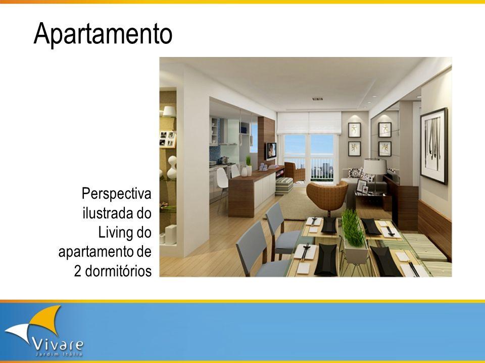 Apartamento Perspectiva ilustrada do Living do apartamento de 2 dormitórios