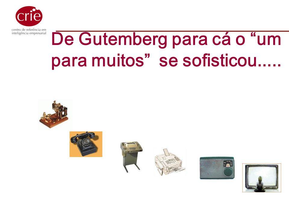 De Gutemberg para cá o um para muitos se sofisticou.....