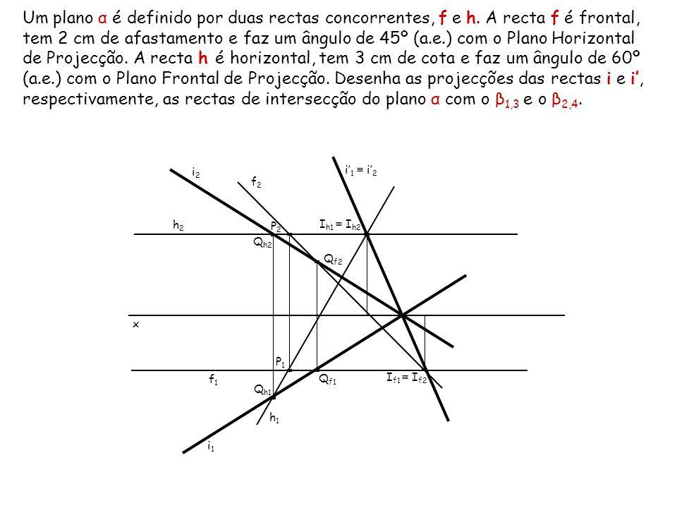 Um plano α é definido por duas rectas concorrentes, f e h