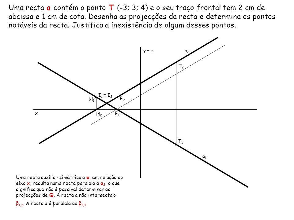 Uma recta a contém o ponto T (-3; 3; 4) e o seu traço frontal tem 2 cm de abcissa e 1 cm de cota. Desenha as projecções da recta e determina os pontos notáveis da recta. Justifica a inexistência de algum desses pontos.