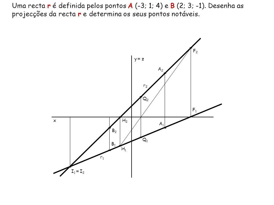 Uma recta r é definida pelos pontos A (-3; 1; 4) e B (2; 3; -1)