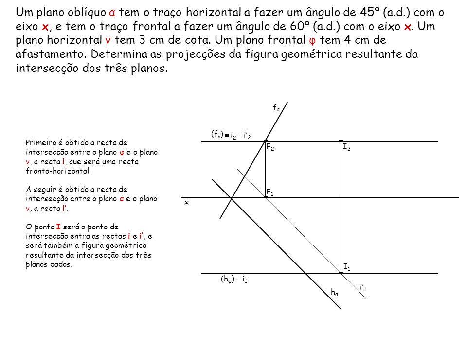 Um plano oblíquo α tem o traço horizontal a fazer um ângulo de 45º (a