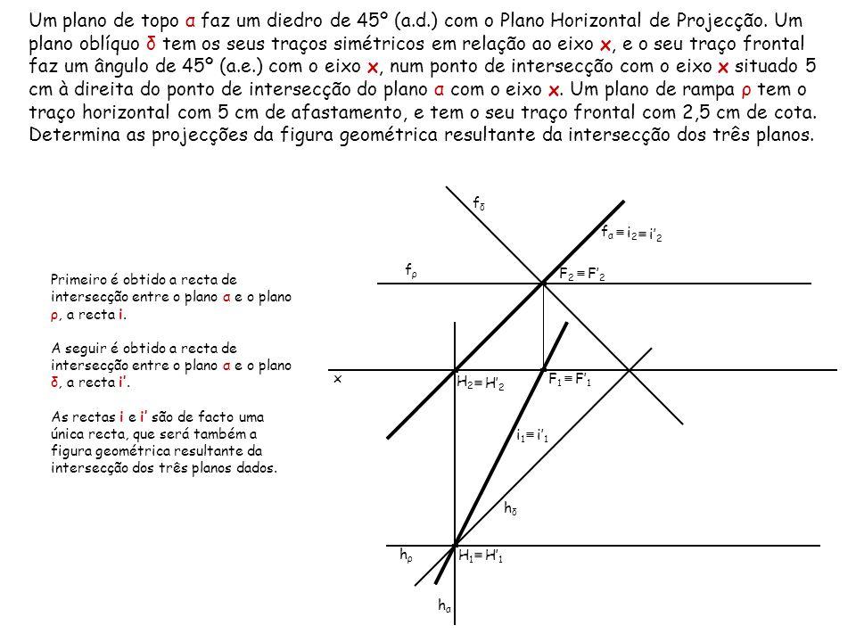 Um plano de topo α faz um diedro de 45º (a. d