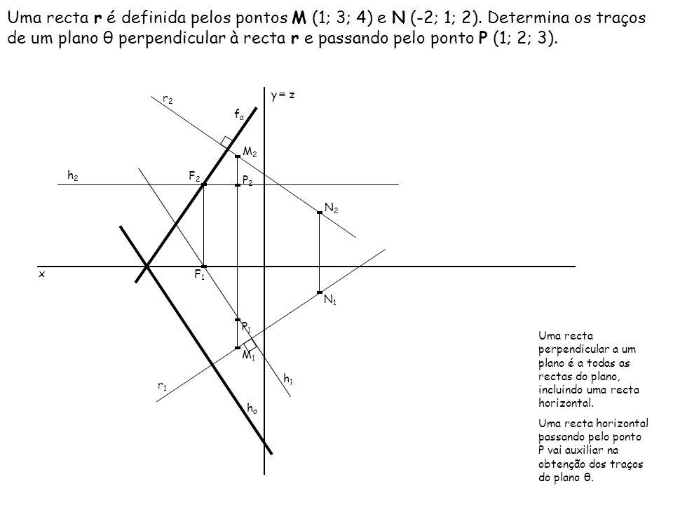 Uma recta r é definida pelos pontos M (1; 3; 4) e N (-2; 1; 2)