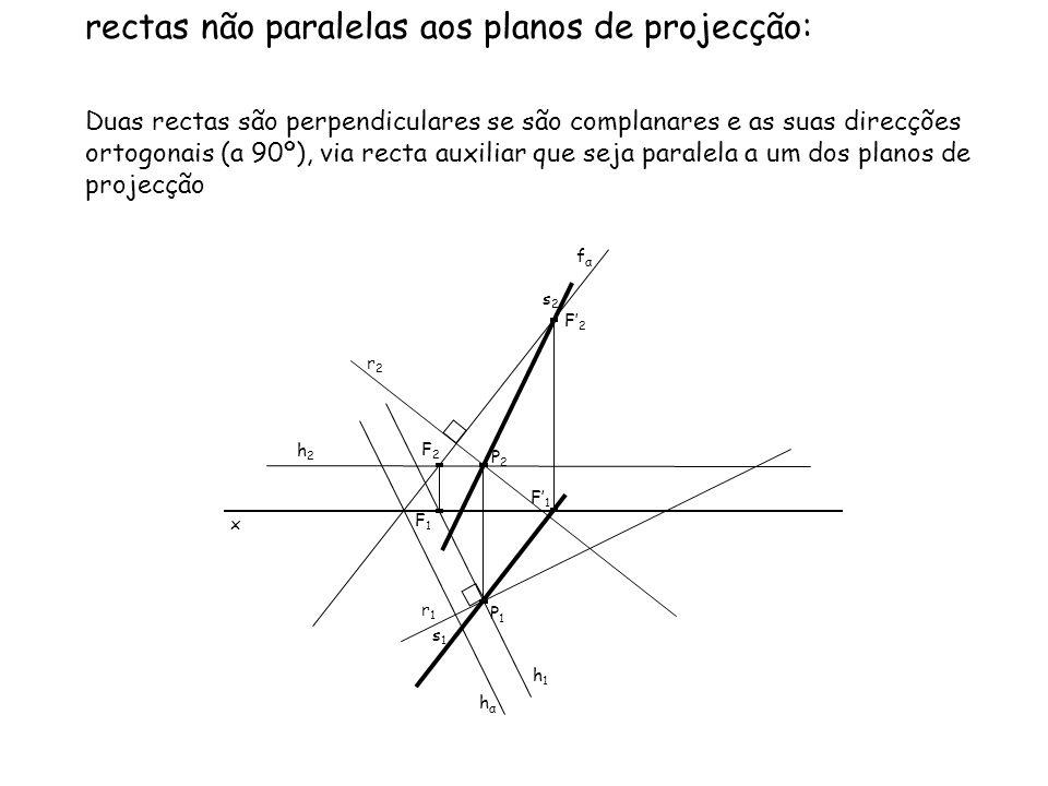 rectas não paralelas aos planos de projecção: