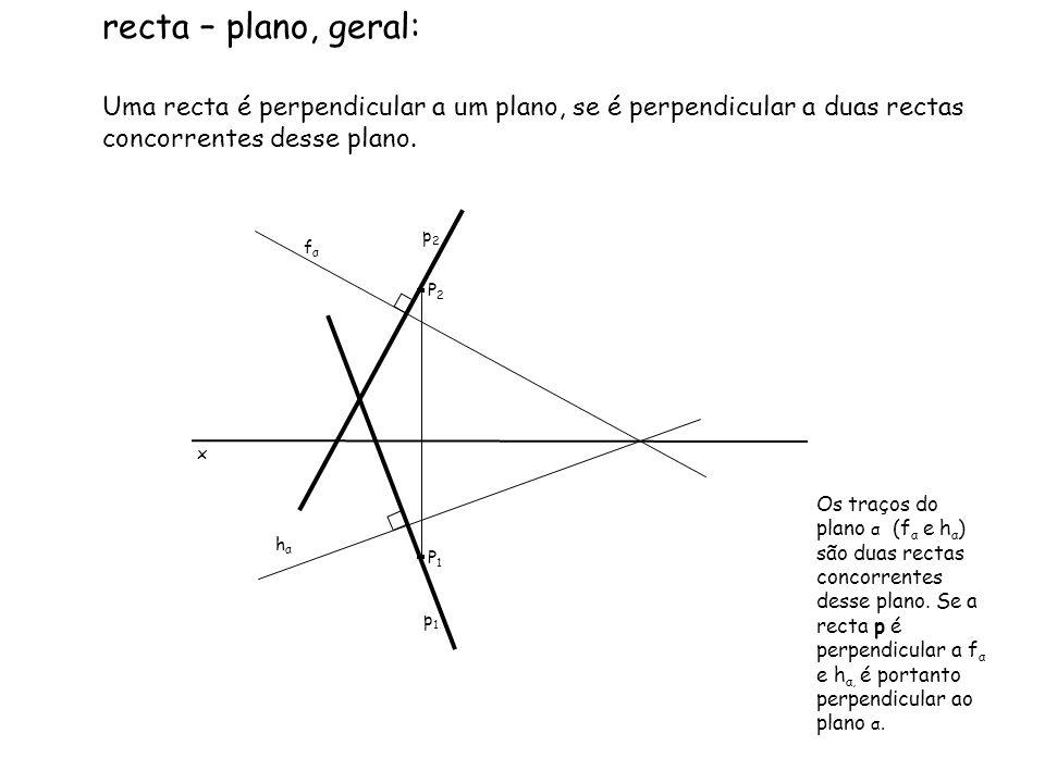 recta – plano, geral: Uma recta é perpendicular a um plano, se é perpendicular a duas rectas concorrentes desse plano.
