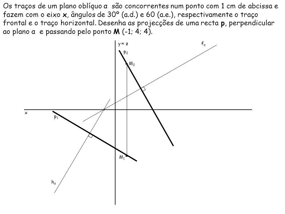 Os traços de um plano oblíquo α são concorrentes num ponto com 1 cm de abcissa e fazem com o eixo x, ângulos de 30º (a.d.) e 60 (a.e.), respectivamente o traço frontal e o traço horizontal. Desenha as projecções de uma recta p, perpendicular ao plano α e passando pelo ponto M (-1; 4; 4).