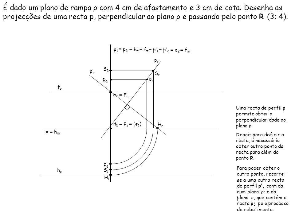 É dado um plano de rampa ρ com 4 cm de afastamento e 3 cm de cota