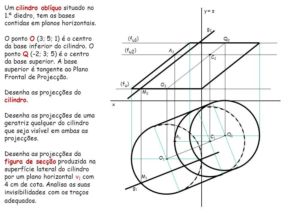 Desenha as projecções do cilindro.
