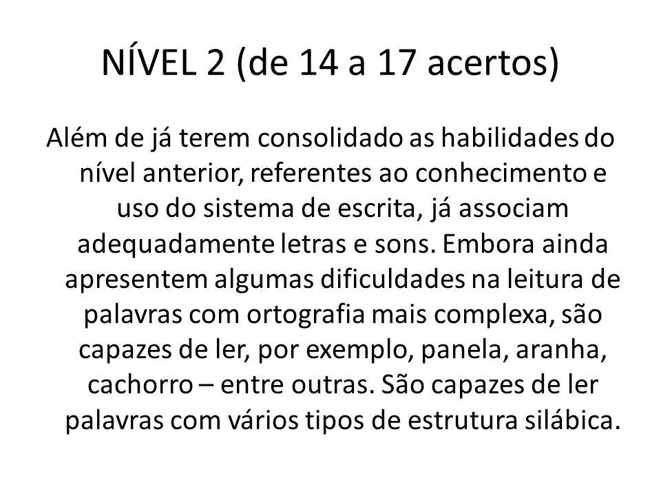 NÍVEL 2 (de 14 a 17 acertos)