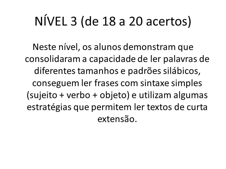 NÍVEL 3 (de 18 a 20 acertos)