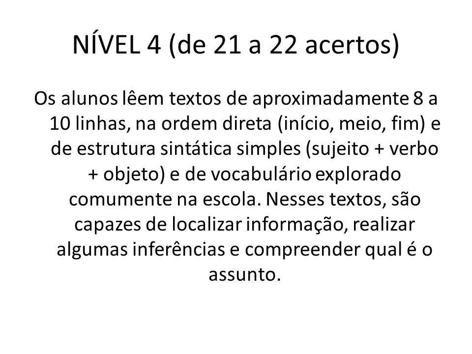 NÍVEL 4 (de 21 a 22 acertos)