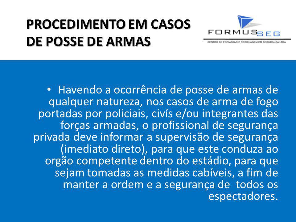 PROCEDIMENTO EM CASOS DE POSSE DE ARMAS