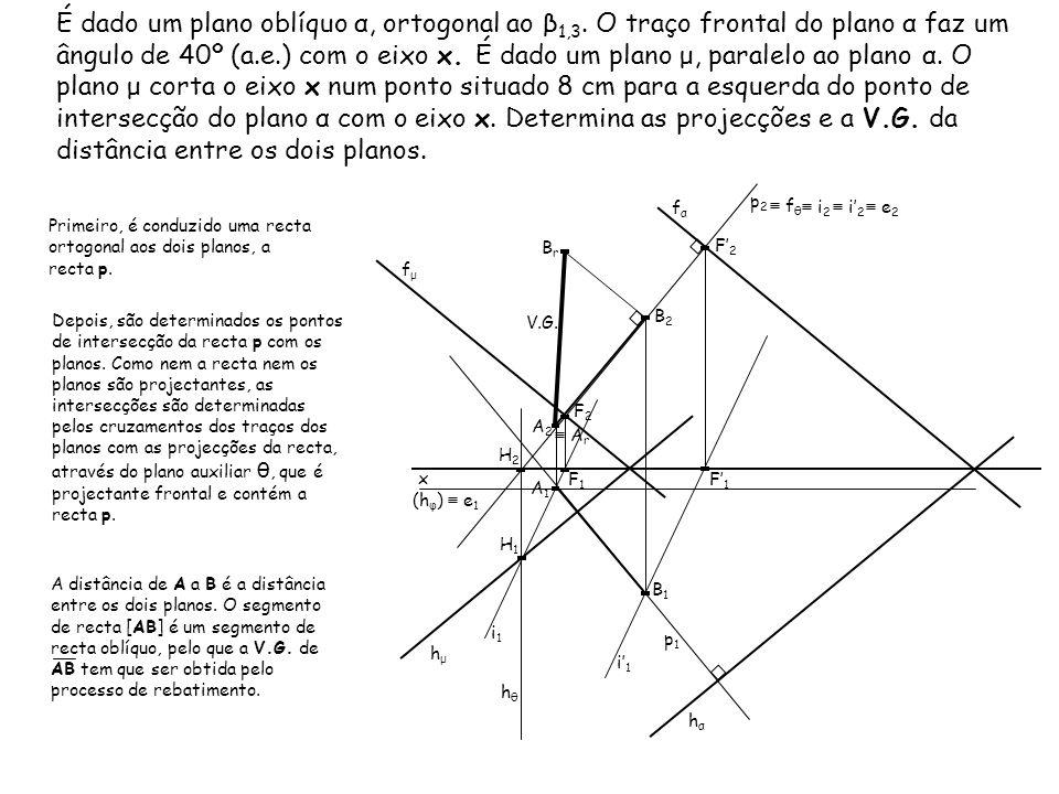É dado um plano oblíquo α, ortogonal ao β1,3