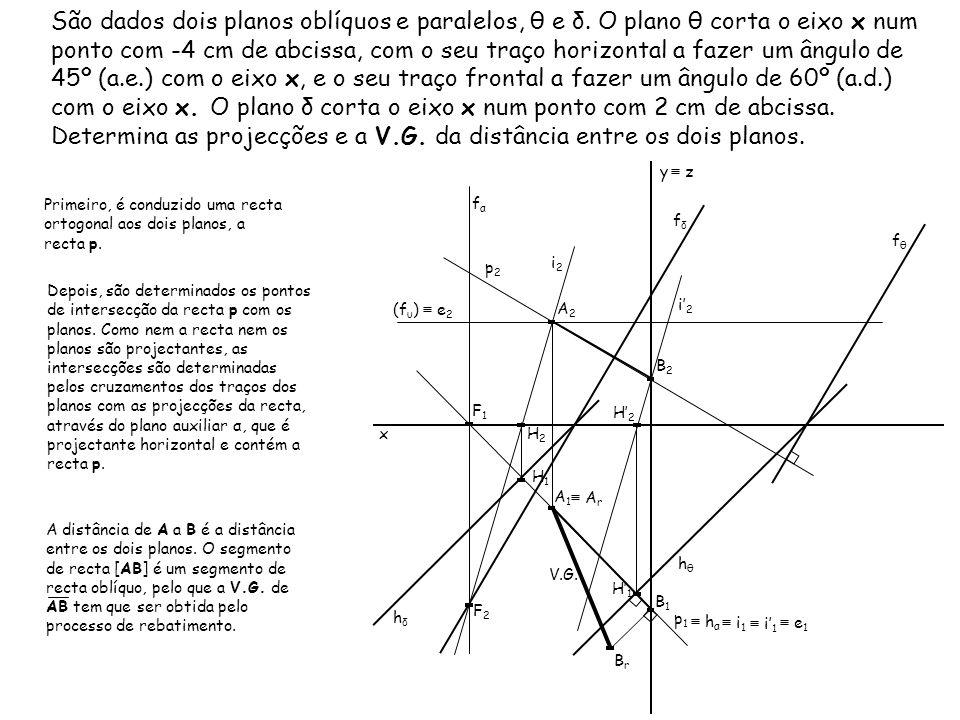 São dados dois planos oblíquos e paralelos, θ e δ