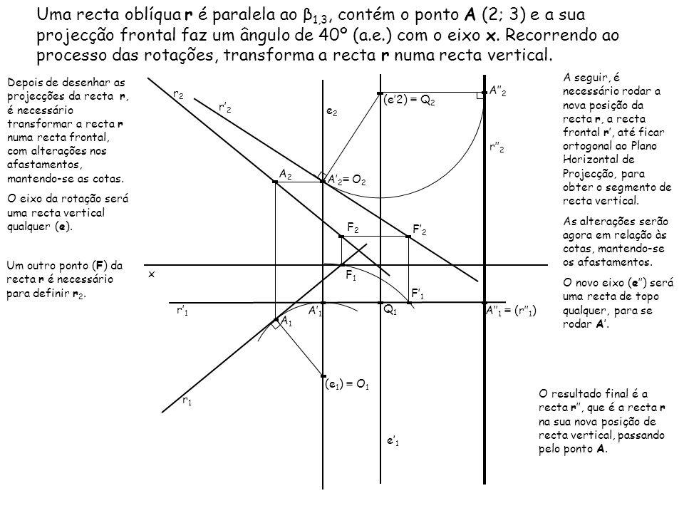 Uma recta oblíqua r é paralela ao β1,3, contém o ponto A (2; 3) e a sua projecção frontal faz um ângulo de 40º (a.e.) com o eixo x. Recorrendo ao processo das rotações, transforma a recta r numa recta vertical.