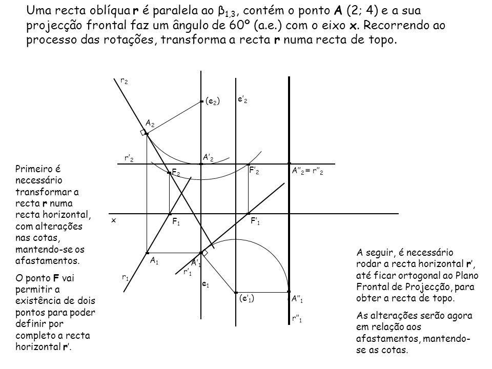 Uma recta oblíqua r é paralela ao β1,3, contém o ponto A (2; 4) e a sua projecção frontal faz um ângulo de 60º (a.e.) com o eixo x. Recorrendo ao processo das rotações, transforma a recta r numa recta de topo.