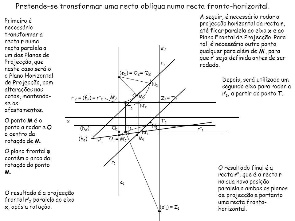 Pretende-se transformar uma recta oblíqua numa recta fronto-horizontal.