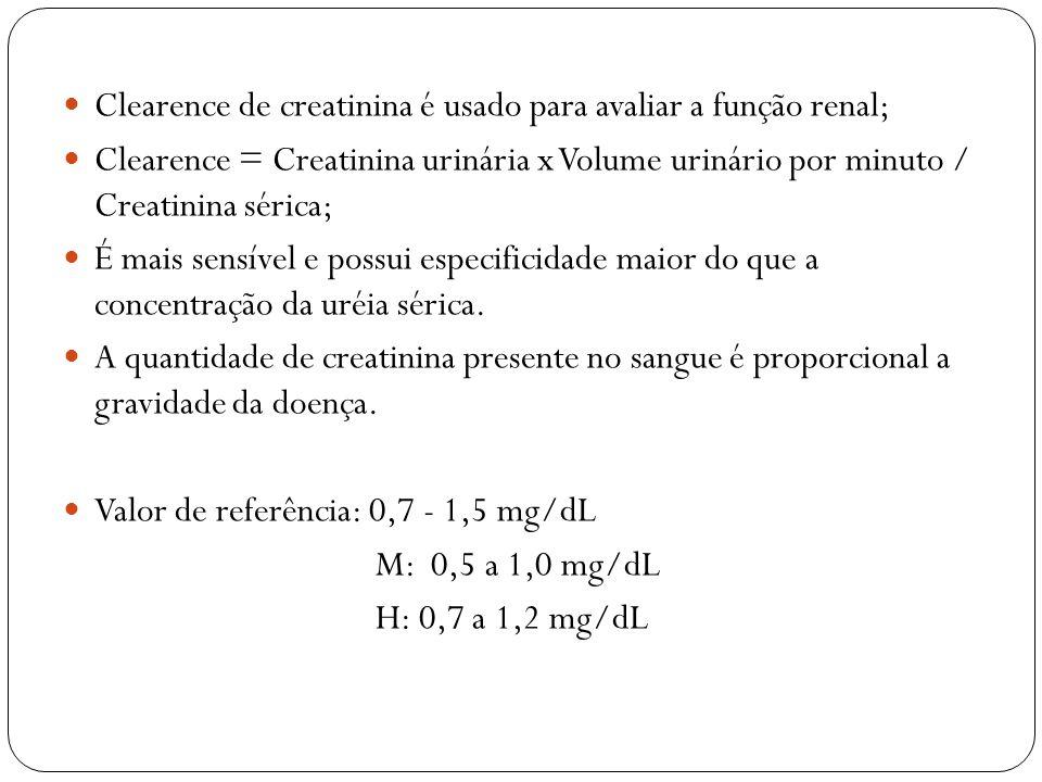 Clearence de creatinina é usado para avaliar a função renal;