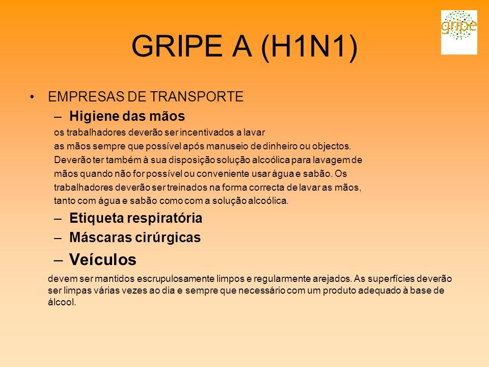 GRIPE A (H1N1) Veículos EMPRESAS DE TRANSPORTE Higiene das mãos