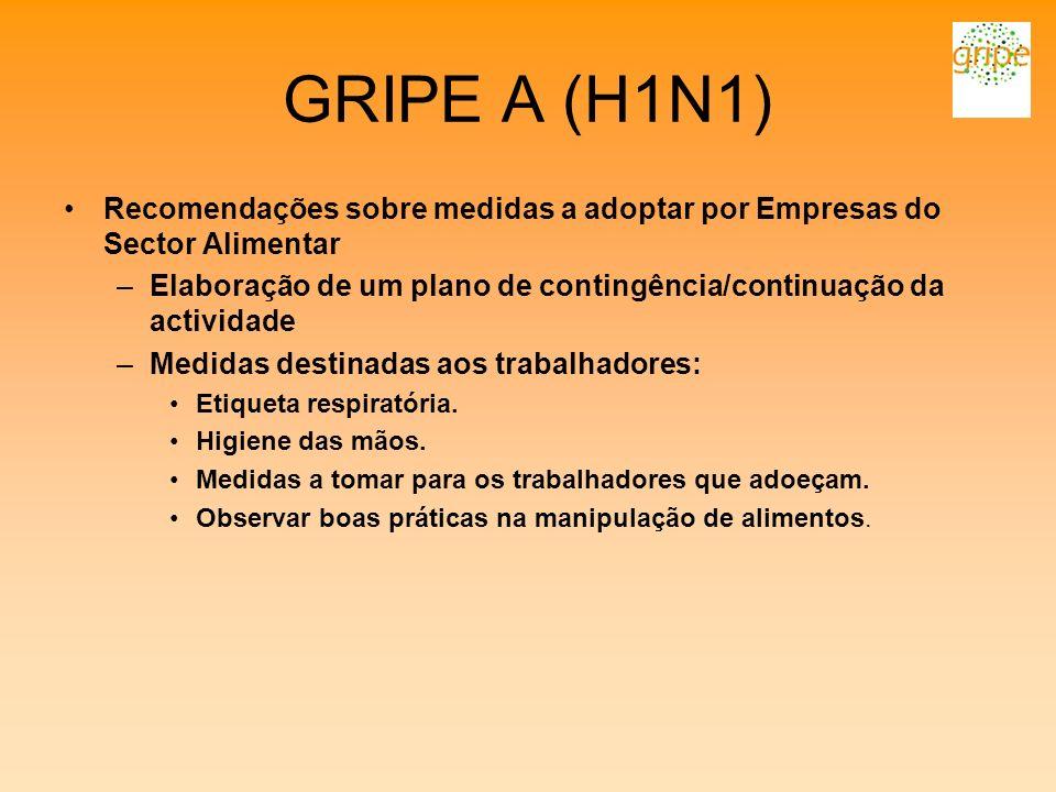 GRIPE A (H1N1) Recomendações sobre medidas a adoptar por Empresas do Sector Alimentar.