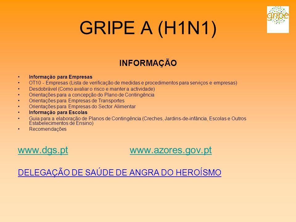 GRIPE A (H1N1) www.dgs.pt www.azores.gov.pt INFORMAÇÃO