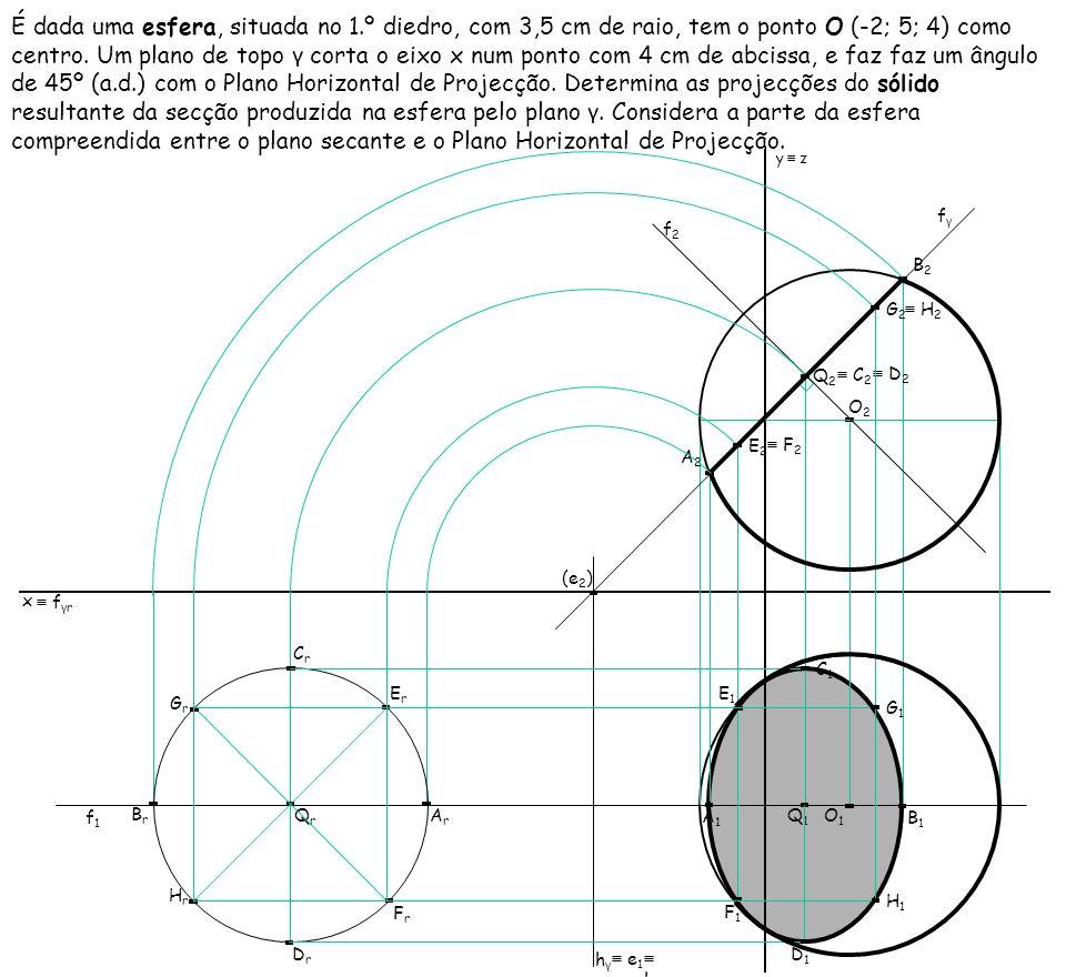 É dada uma esfera, situada no 1