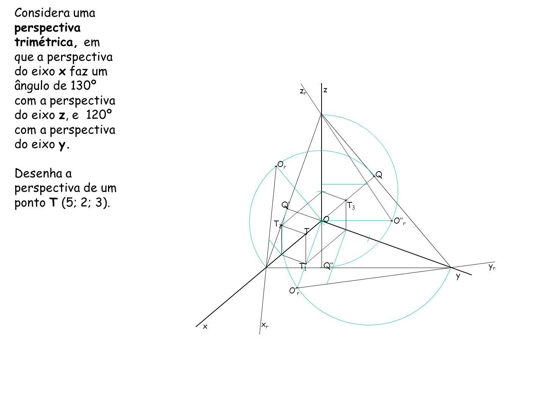 Desenha a perspectiva de um ponto T (5; 2; 3).