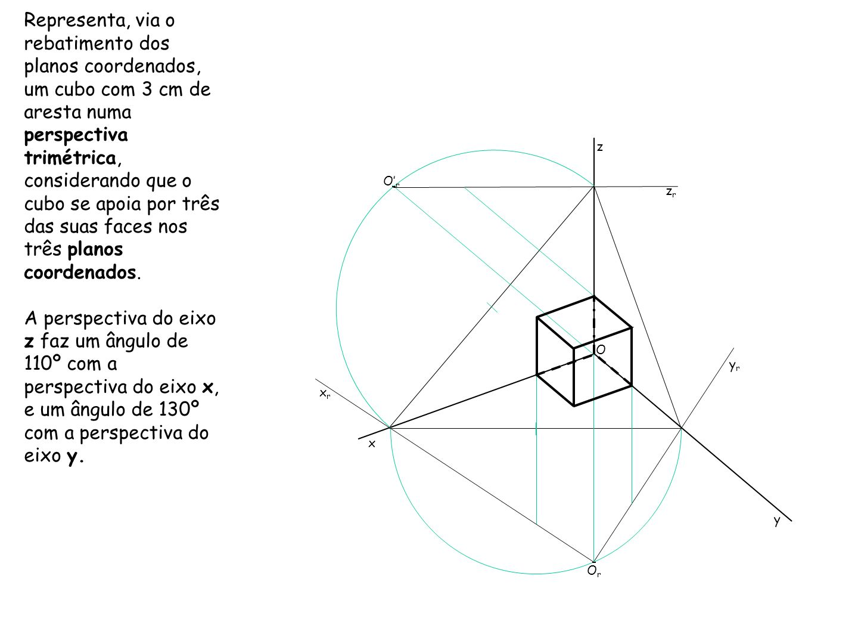 Representa, via o rebatimento dos planos coordenados, um cubo com 3 cm de aresta numa perspectiva trimétrica, considerando que o cubo se apoia por três das suas faces nos três planos coordenados.