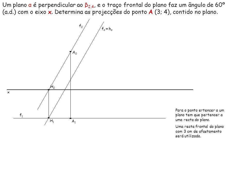 Um plano α é perpendicular ao β2,4, e o traço frontal do plano faz um ângulo de 60º (a.d.) com o eixo x. Determina as projecções do ponto A (3; 4), contido no plano.