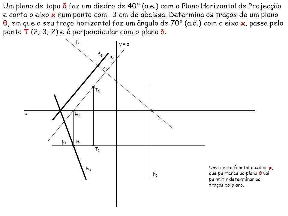 Um plano de topo δ faz um diedro de 40º (a. e