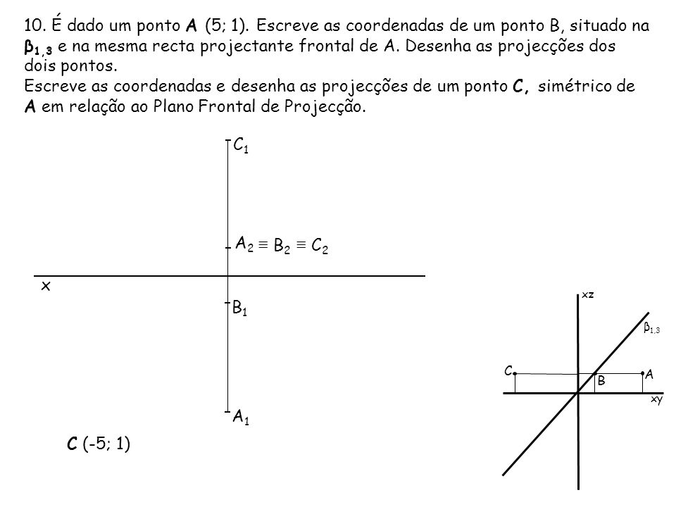 10. É dado um ponto A (5; 1). Escreve as coordenadas de um ponto B, situado na β1,3 e na mesma recta projectante frontal de A. Desenha as projecções dos dois pontos.