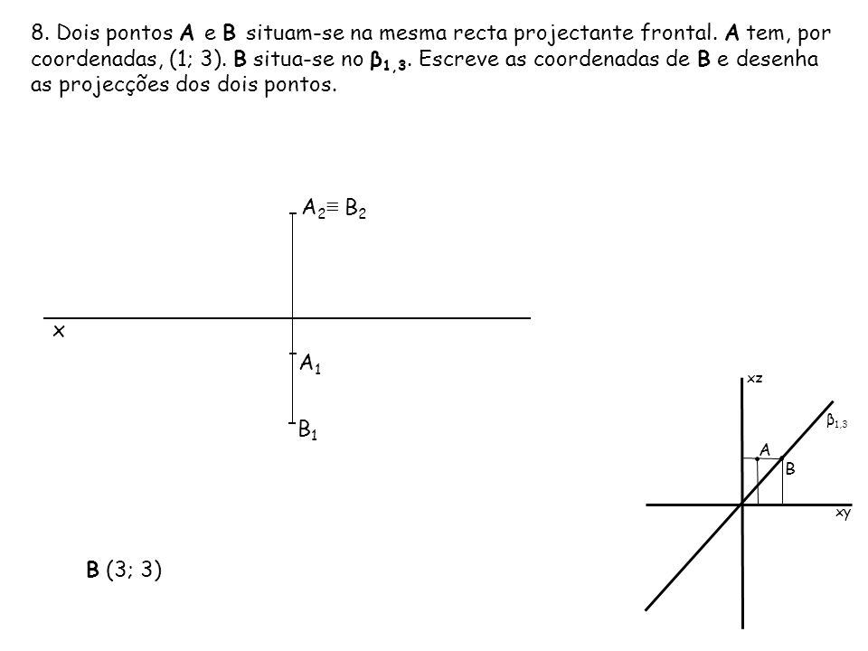 8. Dois pontos A e B situam-se na mesma recta projectante frontal