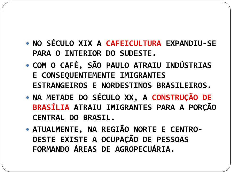 NO SÉCULO XIX A CAFEICULTURA EXPANDIU-SE PARA O INTERIOR DO SUDESTE.