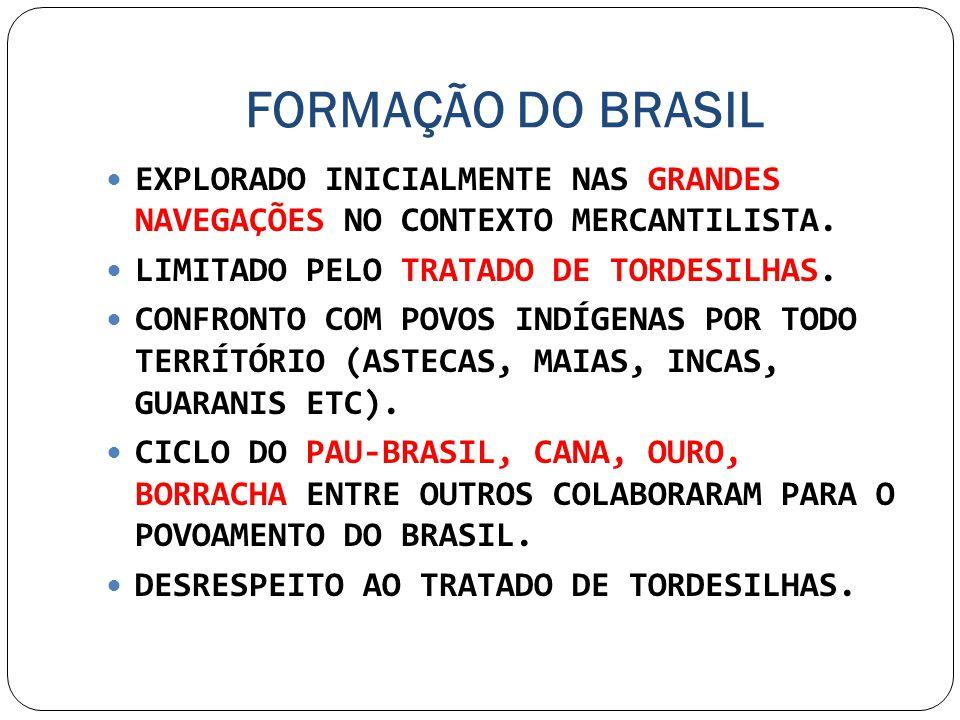 FORMAÇÃO DO BRASIL EXPLORADO INICIALMENTE NAS GRANDES NAVEGAÇÕES NO CONTEXTO MERCANTILISTA. LIMITADO PELO TRATADO DE TORDESILHAS.