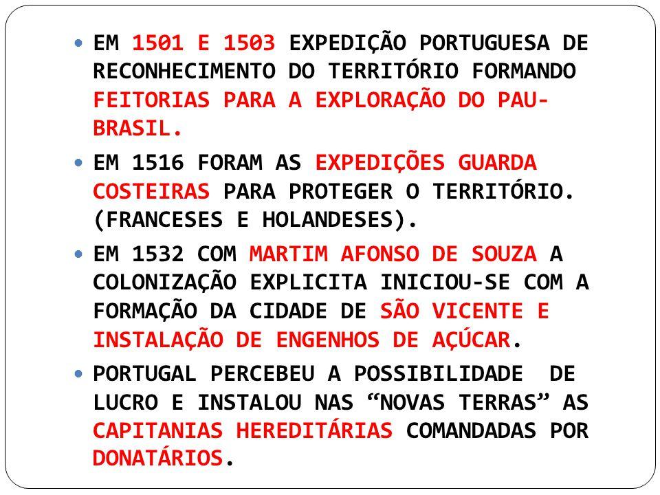 EM 1501 E 1503 EXPEDIÇÃO PORTUGUESA DE RECONHECIMENTO DO TERRITÓRIO FORMANDO FEITORIAS PARA A EXPLORAÇÃO DO PAU- BRASIL.