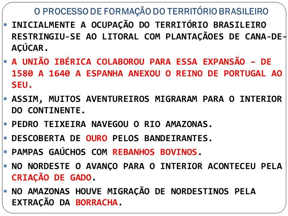 O PROCESSO DE FORMAÇÃO DO TERRITÓRIO BRASILEIRO