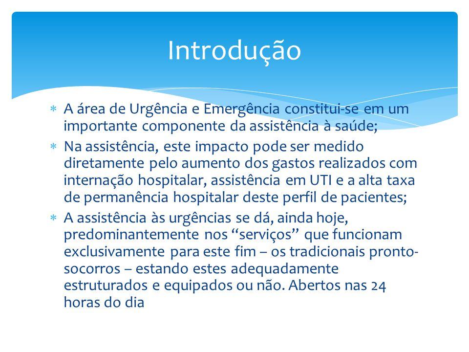 Introdução A área de Urgência e Emergência constitui-se em um importante componente da assistência à saúde;