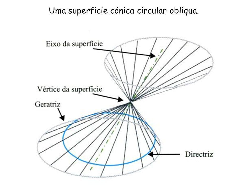 Uma superfície cónica circular oblíqua.