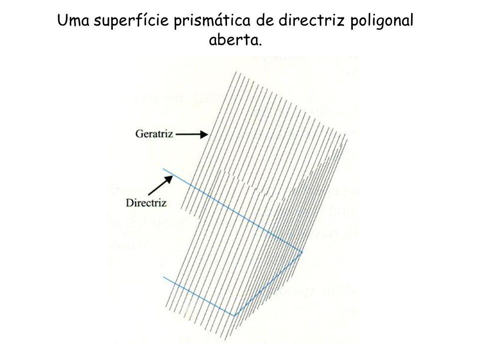 Uma superfície prismática de directriz poligonal aberta.