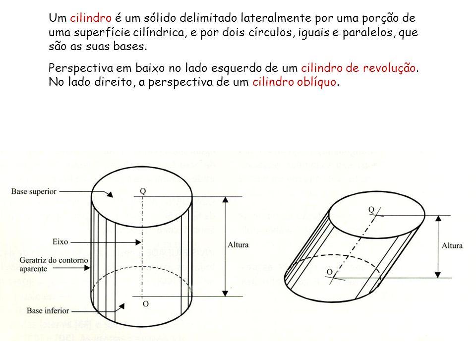 Um cilindro é um sólido delimitado lateralmente por uma porção de uma superfície cilíndrica, e por dois círculos, iguais e paralelos, que são as suas bases.