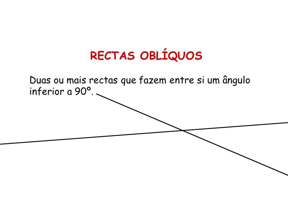 RECTAS OBLÍQUOS Duas ou mais rectas que fazem entre si um ângulo inferior a 90º.