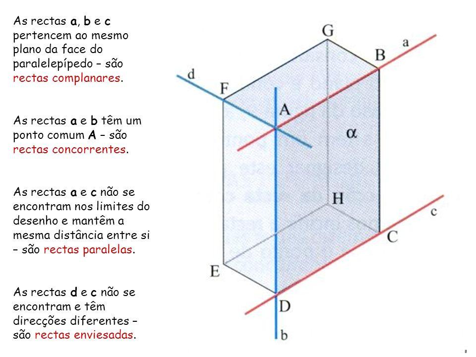 As rectas a, b e c pertencem ao mesmo plano da face do paralelepípedo – são rectas complanares.